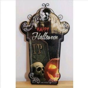 Halloween Skull Pumpkin Tombstone RIP Metal Decor